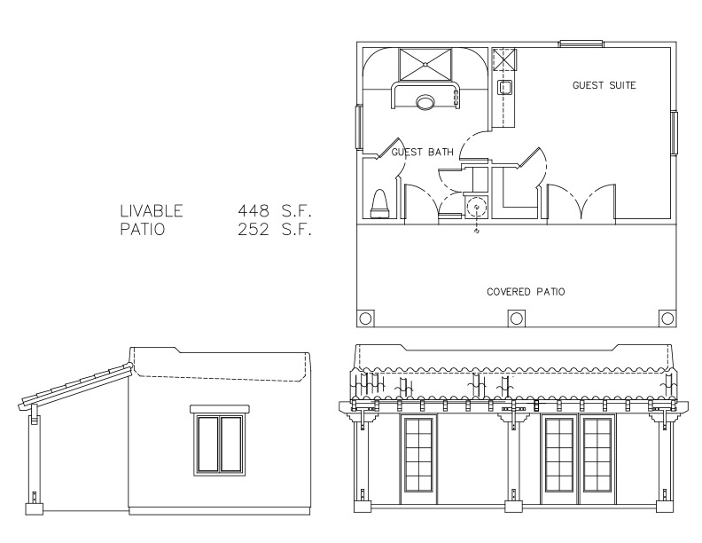 Guest house plans free guest houses 448 sf welcome to Small guest house plans free